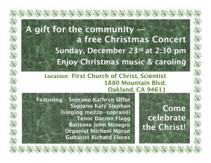 Free Christmas Concert @ First Church of Christ, Scientist | Oakland | California | United States